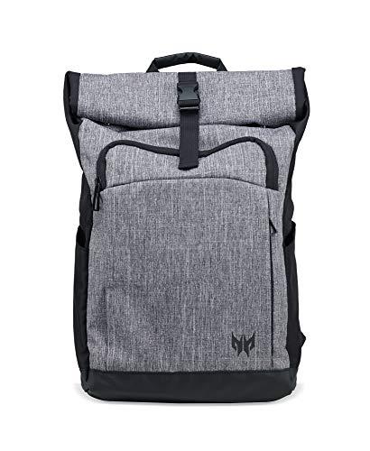 Acer Predator Zubehör Gaming Rolltop Rucksack (für alle 15 Zoll Notebooks geeignet, wasserdicht, 35,5 Liter Fassungsvermögen, das ganze Equipment in einer Tasche) grau