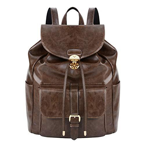 COOFIT Rucksack Damen Elegant PU Leder Rucksack Mädchen Vintage Rucksack Schulrucksack Freizeitrucksack Tagesrucksack für Damen