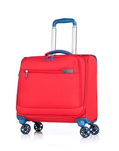 Verage Visionary 4 Rollen Reisekoffer Handgepäck Business Laptop Trolley 16,5 Zoll (Rot) wasserdicht, mit extra Nebentasche für Powerbank