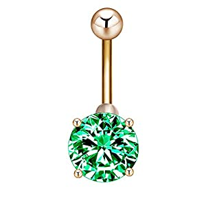 Daesar Damen Bauchnabelpiercing Grün/Rosa/Blau Zirkonia Rund Bauchnabel Ring aus Edelstahl Bauch Ring Gold