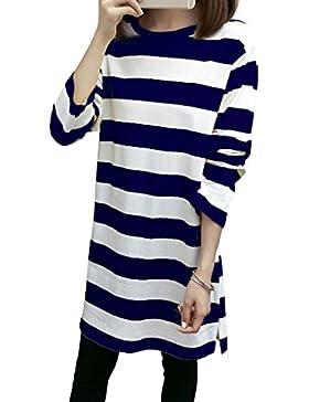 Las mujeres rayan el vestido largo de la camiseta O-cuello Su¨¦teres largos de la manga Las camisetas flojas del...