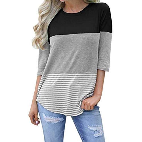 Fittingran Moda Donna, 2018 New Women ' s T-Shirt, Donna Casual Sciolto Patchwork a Strisce Pizzo Tre Quarti Manica Camicetta Cime Camicie (Nero, M)