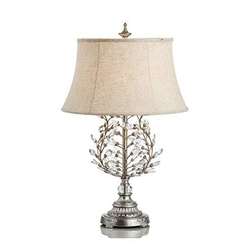 LQ Amerikanische Tischlampe Schlafzimmer Nachttischlampe Land Retro Tischlampe Kreative Wohnzimmer Große Villa Kristall Stoff Warm (Farbe : Silber) - Das Leben Auf Dem Land 100% Grünen