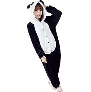 Ferrand Kigurumi Pyjamas Unisexe Adulte Costume Cosplay Animaux Onesie Panda Noir XL