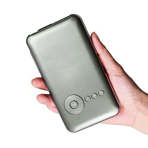Kobwa Pico Projecteur DLP Vidéoprojecteur mini mobile avec 854x 480pixels, batterie intégrée, contraste 2000: 1, Bluetooth 4.0& 5G WiFi, 120pouces USB, HDMI, MHL