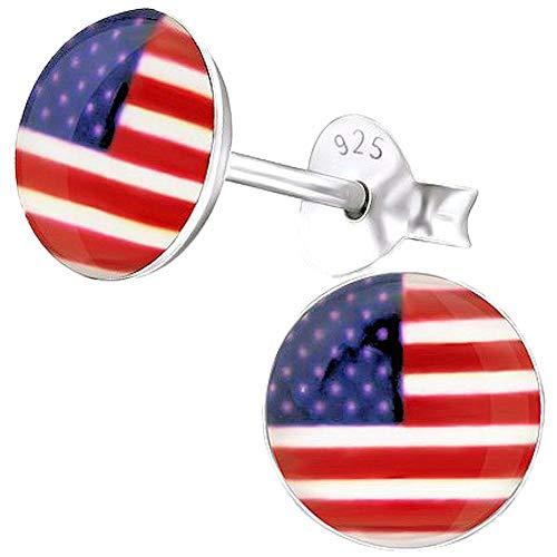 So Chic Schmuck - Kinder Ohrstecker USA Flaggen Sterling Silber 925