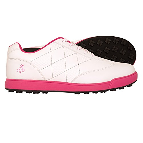 Green Lamb Soft Leather Shoe With Ortholite® Footbed, Damen Golfschuhe Mehrfarbig White/Pink (White Comfort Golfschuh)