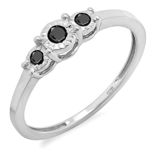 3-stein Schwarze Diamant-ring (DazzlingRock Collection Damen 0,20 Karat Sterlingsilber Runde Schwarze Diamant 3 Stein Engagement Versprechen Ring 1/5 Ct 7.5)
