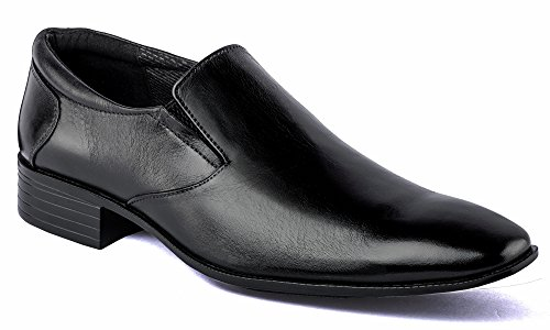 DE SCALZO Black Leather Slipon Formal Shoes for Men