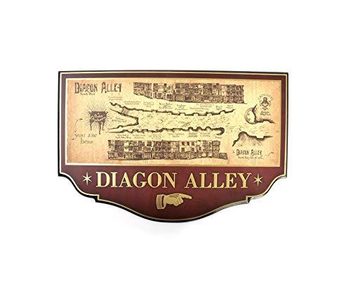 BazarPRO Noble Collection - Placca in Legno Riproduzione della Mappa di Diagon Alley - Harry Potter - NN7058