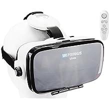 Casque VR VR-PRIMUS VA4s + télécommande | pour Smartphone 's p.ex. iPhone,Samsung Galaxy,HTC,Sony,LG,Huawei | Ajustable,Google Cardboard QR,Bouton de contrôle | Lunettes RV,contrôleur,Manette | Blanc