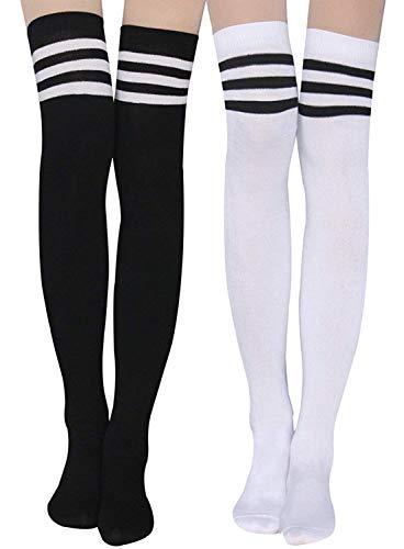 Damen Kniestrümpfe - Overknee Strümpfe Streifen Lange Socken Retro Knitting Strümpfe Mädchen Cheerleader Sportsocken Baumwollstrümpfe (Schwarz-Weiß) -