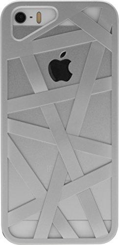 Signature Criss Cross Matrix Hülle Case Cover für Apple iPhone 5/5S/SE - Schwarz Silber