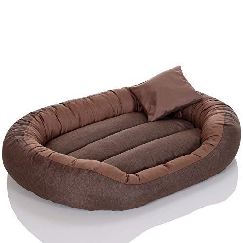 Pet Violet Großes Hundebett Braun 90x70 cm mit Wendekissen, Wasserdichtes Hundesofa, Bissfest und Waschbar (Großes Pet-sofa-bett,)