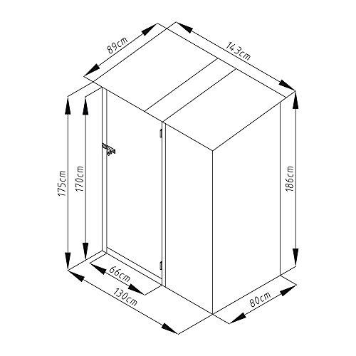 Geräteschrank Geräteschuppen Metall-Schrank Metall-Schuppen Garten-Schrank 130 cm x 80cm x 186 cm – Farbwahl (Grau / Anthrazit) - 4