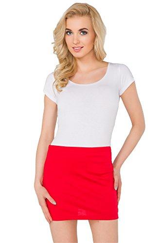 Futuro Fashion Damen Stift Minirock Dehnbar Sommer Elastisch Bodycon Plus Größen eu 36-50 PA11 - Rot, 48-50 XXXL