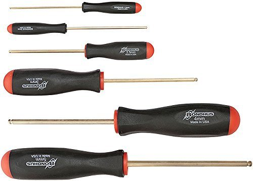 Bondhus 38686 Set of 6 Balldriver Screwdrivers with GoldGuard Finish, sizes 1.5-5mm by Bondhus (Bondhus 4 Mm Balldriver)