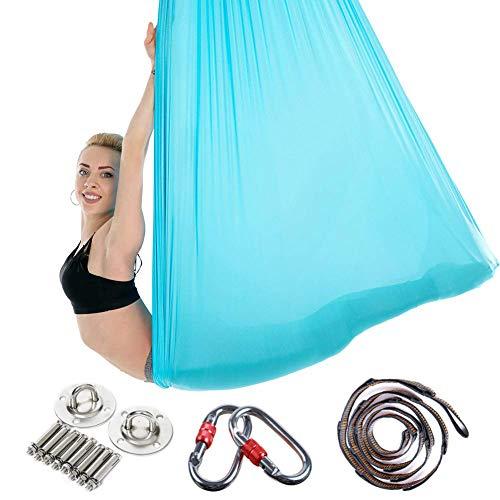 FB Premium Aerial Yoga Schaukel-Set Yoga-Hängematte/Trapez/Sling Kit + Verlängerungsgurte - Anti-ravity Decke hängend Yoga Sling - Seide Umkehrschaukel für Anfänger & Kinder