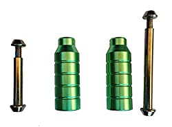 Stunt Scooter Pegs With Hardened Axle Bolt Green Pegs