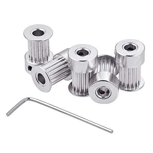 INCREWAY 5 Stück Aluminium GT2 Zahnriemenscheibe 16 Zähne Bohrung 5 mm Breite 6 mm und Schraubenschlüssel für RepRap 3D-Drucker Prusa i3
