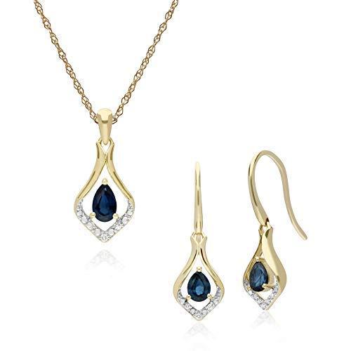 Gemondo - Parure composta da collana e orecchini pendenti in oro giallo 9 kt, con zaffiro e diamanti a forma di foglia, lunghezza 45 cm