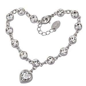 Swarovski Elements Cristal pendentif de coeur clair bracelet bijoux diamant