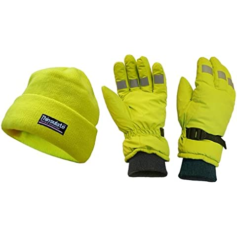 Scan WWHVGLOPK - Guantes y gorro de alta visibilidad (gorro de lana), color amarillo reflectante