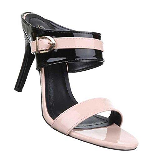 Damen-Schuhe Sandaletten | elegante High-Heel mit Stiletto Absatz in verschiedenen Farben und Größen | Schuhcity24 | Pumps in Lacklederoptik Rosa