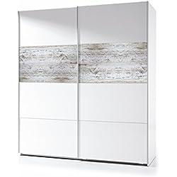 Habitdesign ARC181BO - Armario corredera Vintage , acabado Blanco Brillo y Decapé , medidas: 180x200x61 cm de fondo
