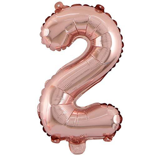 Haihuic Globo con números de Oro Rosa de 32 Pulgadas, Decoraciones del Aniversario del cumpleaños del Festival Fuentes del Partido Globo de Helio de Papel de Aluminio | Número 2