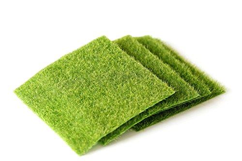 4PCS grün Miniatur 15* 15cm Kunstpflanze künstliches Moos Rasen DIY Fake Faux Gras Rasen für Zuhause Garten Micro Landschaft Dekoration Ornament (Faux Gras)