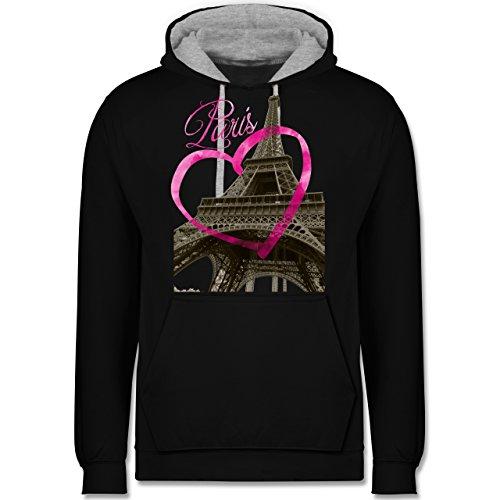 Städte - I love Paris - Kontrast Hoodie Schwarz/Grau Meliert