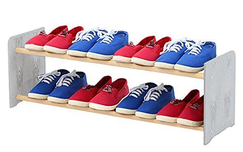 Schuhregal Schuhschrank Schuhe Schuhständer RBS-2-90 (Seiten hellgrau, Stangen in der Farbe weiß)
