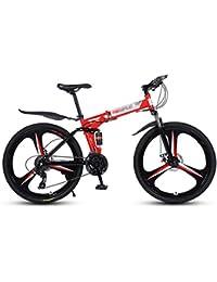 LAX Bicicleta Plegable Montaña 26 Pulgadas, 21 Velocidad Engranajes De Bicicletas De Doble Disco De Freno para Bicicleta, con Amortiguador De Bicicletas