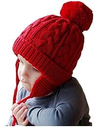 Enfant Bonnet Péruvien avec Pompon Chapeau Tricot avec Cache-Oreilles  Casquette Gavroche d Hiver b9023b4fb2a