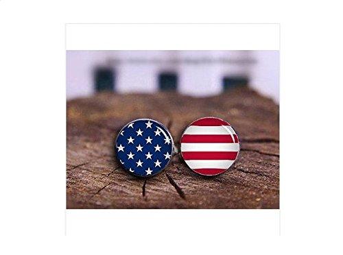 Herren Manschettenknöpfe Amerikanische Flagge, Stars and Stripes, USA Manschettenknöpfe, Freundin Geschenk (Flagge Herren-usa-amerikanische)
