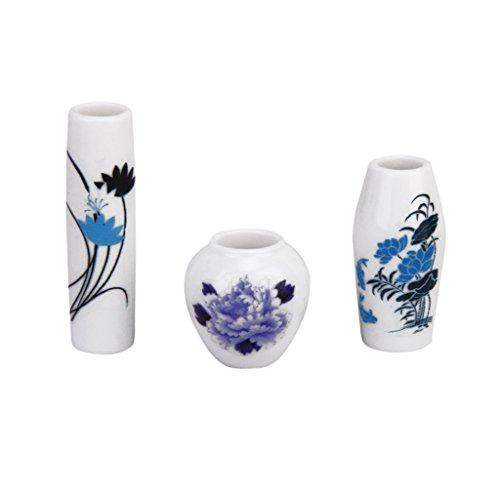 3pz Casa Delle Bambole In Miniatura Di Plastica Vaso Di Fiori Con Blu Dipinto Floreale