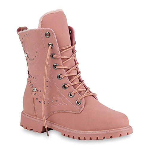 Damen Schuhe Stiefeletten Stiefel Worker Boots Warm Gefütterte 146400 Rosa Berkley 36 Flandell