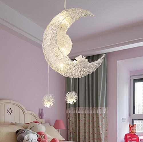Egomall Mond-Stern-Pendelleuchten Kronleuchter kreative Deckenleuchte mit 5 Leuchten für Kinder Schlafzimmer Wohnzimmer