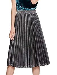 Shengwan Mujer Color Brillante Falda Plisada Cintura Alta Midi Faldas de  Playa a1029f408195