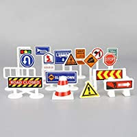 YuanNa Kids Street Signs Playset, English Road Traffic Signs Educational Toys for Kids Birthday Gift