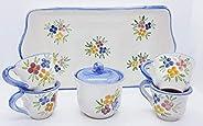 Vassoio Ceramica 4 tazzine da caffè + Zuccheriera Linea Fiori misti Bordo Blu Handmade Le Ceramiche del Castel
