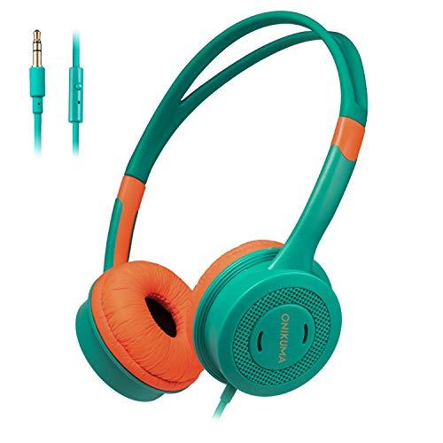WSJ Kopfhörer für Kinder, Schüler-Kopfhörer, Computermusik-Kopfhörer mit Mikrofon,Green