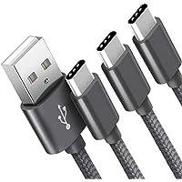 Cavo USB Type-C SUCESO [3 Pezzi,1m+2m+2m] Cavo USB C Nylon Intrecciato Cavo Tipo C Rapida Compatibile con Samsung Galaxy S10/S9/S8,Note 8,Huawei P30 P20 P10 P9 Mate20,Honor,LG,Nexus,OnePlus-Grigio