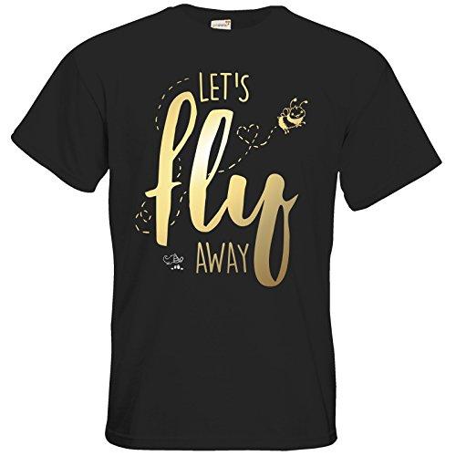 getshirts - Pummeleinhorn - T-Shirt - fly away - gold Black