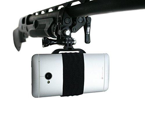 Action Mount - Sportsman-Halterung für jedes Smartphone: Klemme für Sportangeln, Bogen, Schrotflinte, Gewehre, Paintball und mehr. Mit jedem Handy bedienbar. Starker Halt.