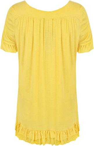WearAll - Neu Damen Übergröße Halskette V-Ausschnitt Kurzarm Rüsche Tunika Top - 4 Farben - Größe 42-52 Gelb