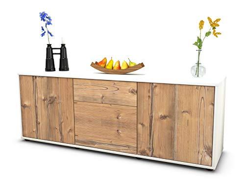 Stil.Zeit Möbel TV Schrank Lowboard Anella, Korpus in Weiss matt/Front im Holz Design Pinie (135x49x35cm), mit Push to Open Technik und hochwertigen Leichtlaufschienen, Made in Germany