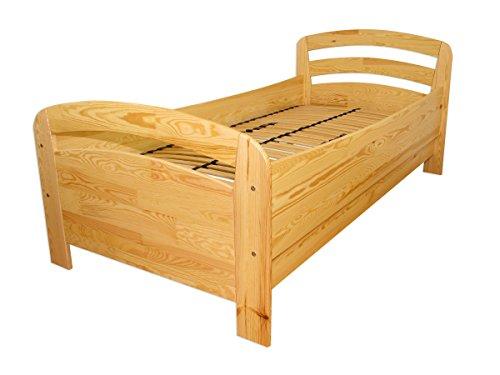 Seniorenbett extra hoch Einzelbett 90x200 Kiefer Massivholz Holzbett (ohne Zubehör) 60.43-09 oR