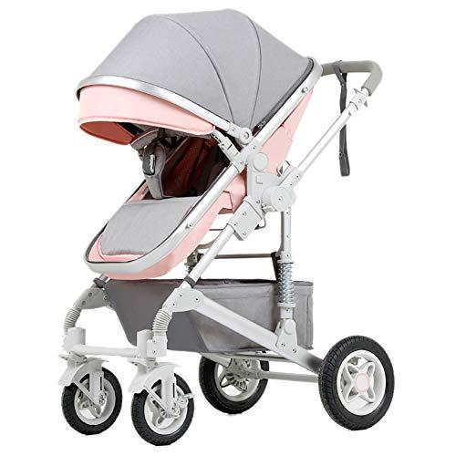 A-rahmen-wagen (MMM @ Kinderwagen, faltende leichte Stoßdämpfer-Kinder drücken Baby-Wagen-Säuglingslaufkatzen-Edelstahl-Rahmen Wagen (Farbe : Rosa))